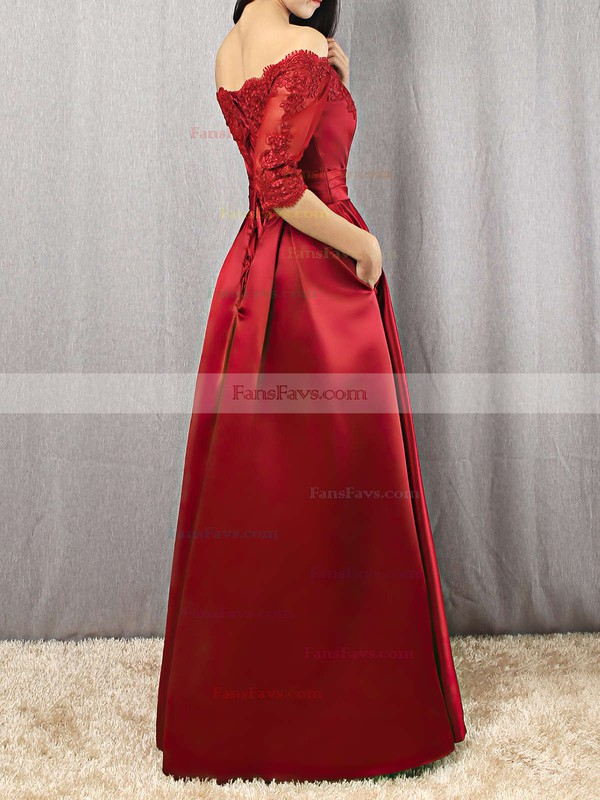 A-line Off-the-shoulder Floor-length Satin Prom Dresses with Appliques Lace Sashes #Favs020102406