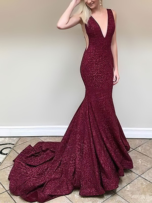 Trumpet/Mermaid V-neck Lace Sweep Train Prom Dresses #Favs020106406