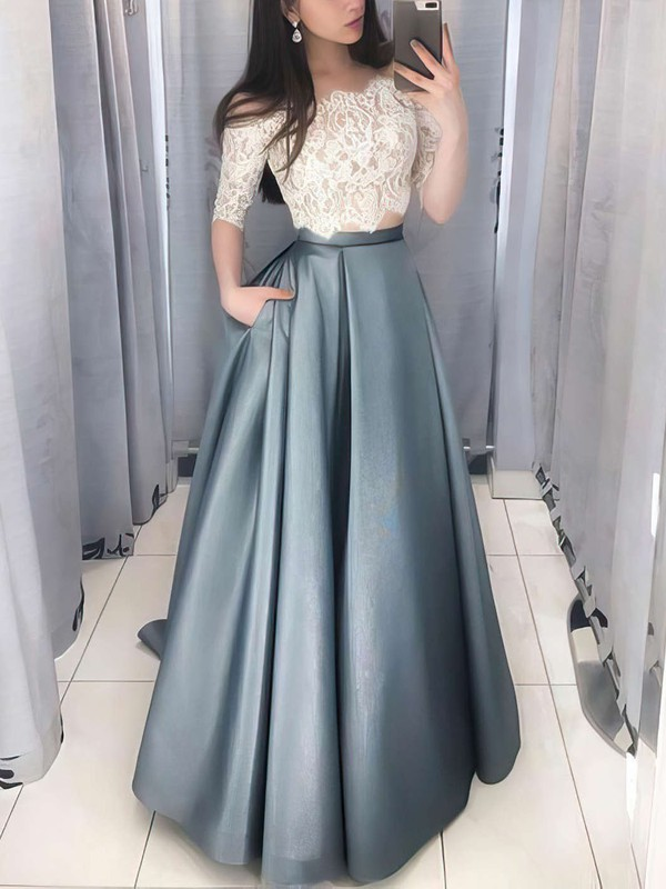 Ball Gown Off-the-shoulder Lace Satin Floor-length Pockets Prom Dresses #Favs020106380