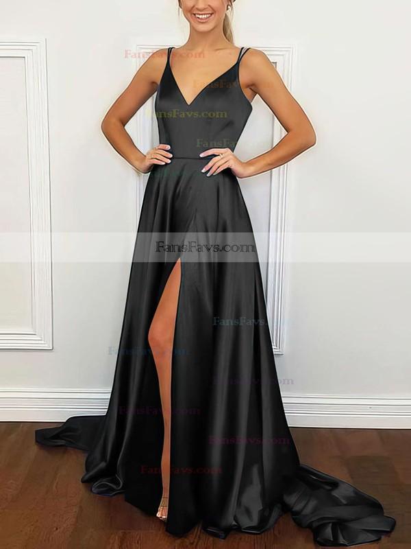 A-line V-neck Silk-like Satin Sweep Train Split Front Prom Dresses #Favs020106381