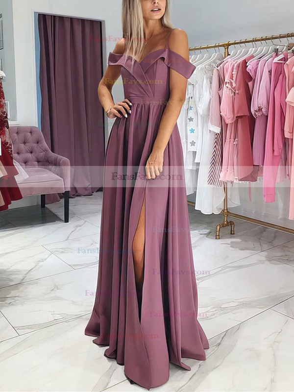 A-line Off-the-shoulder Silk-like Satin Floor-length Split Front Prom Dresses #Favs020106382