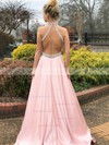 A-line Halter Satin Sweep Train Beading Prom Dresses #Favs020106383