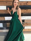 A-line V-neck Satin Floor-length Prom Dresses #Favs020106385