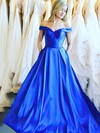 Ball Gown Off-the-shoulder Satin Floor-length Sashes / Ribbons Prom Dresses #Favs020106386