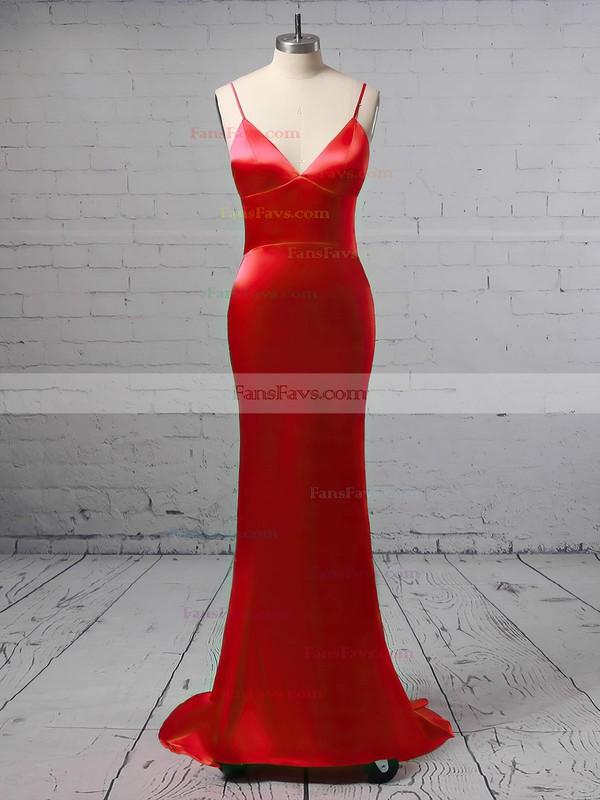 Trumpet/Mermaid V-neck Silk-like Satin Floor-length Buttons Prom Dresses #Favs020106387