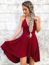 A-line V-neck Silk-like Satin Asymmetrical Prom Dresses #Favs020106388