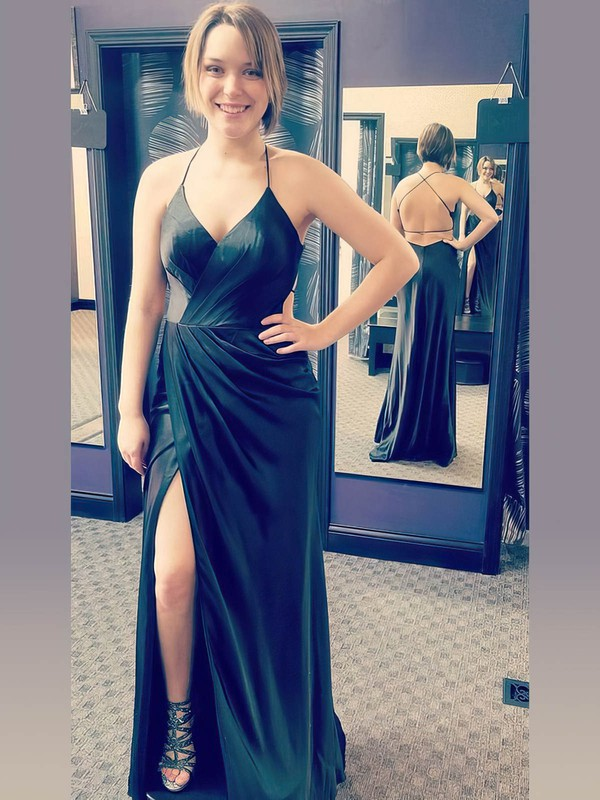 Sheath/Column V-neck Silk-like Satin Floor-length Split Front Prom Dresses #Favs020106391