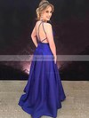 A-line V-neck Satin Floor-length Prom Dresses #Favs020106392