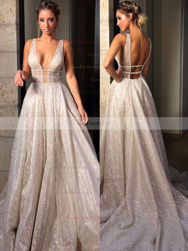 Ball Gown V-neck Sequined Sweep Train Beading Prom Dresses #Favs020106393