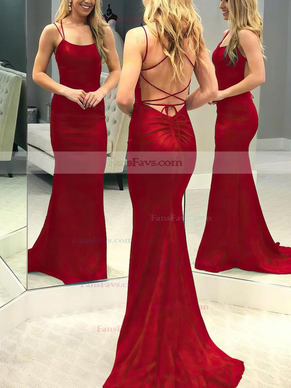 Trumpet/Mermaid Scoop Neck Silk-like Satin Sweep Train Prom Dresses #Favs020106395