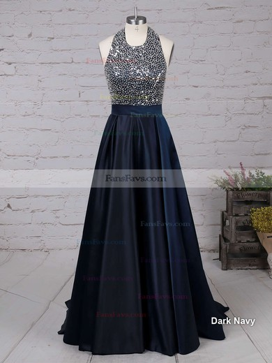 A-line Halter Sweep Train Satin Prom Dresses with Beading #Favs020102435