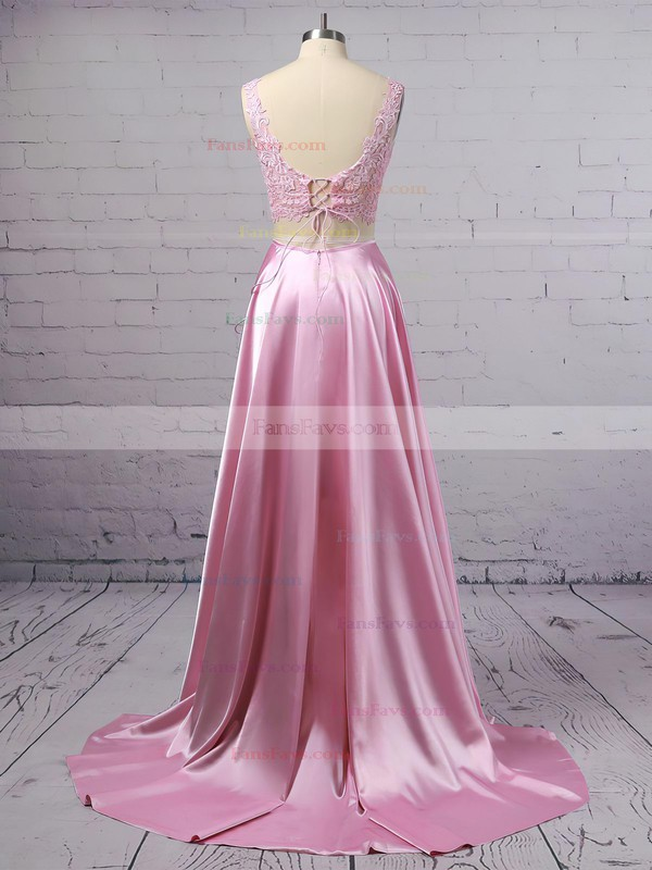 A-line Square Neckline Lace Silk-like Satin Sweep Train Pockets Prom Dresses #Favs020106398