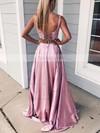 A-line Square Neckline Lace Silk-like Satin Sweep Train Pockets Prom Dresses #Favs020106398