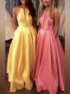 Princess Scoop Neck Satin Floor-length Pockets Prom Dresses #Favs020106399