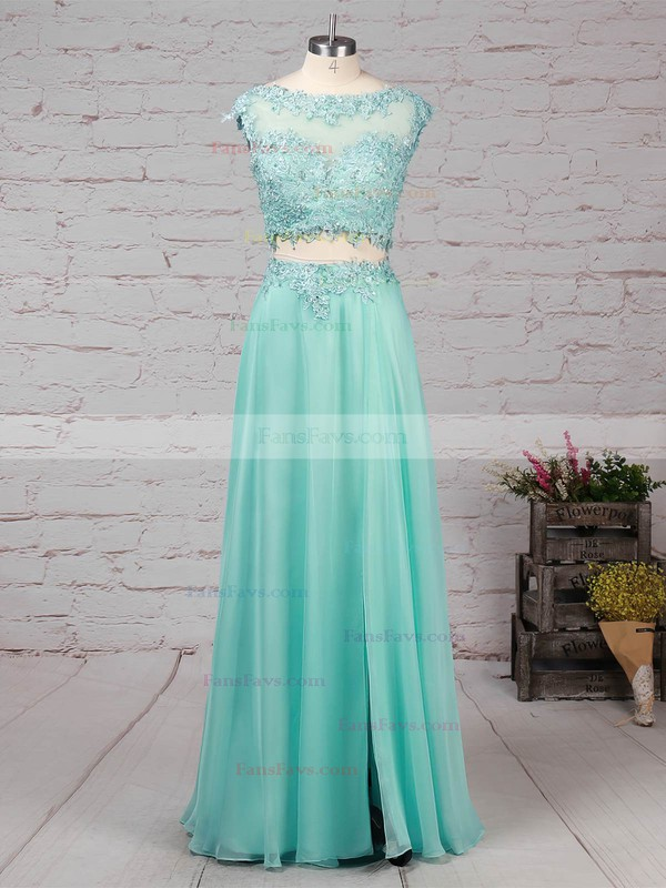 A-line Scoop Neck Chiffon Sweep Train Beading Prom Dresses #Favs020101059