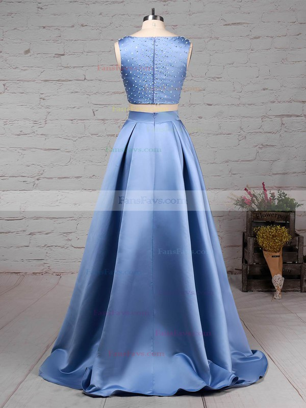 Princess Scoop Neck Satin Floor-length Beading Prom Dresses #Favs020105049