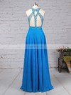 A-line Scoop Neck Chiffon Tulle Sweep Train Beading Prom Dresses #Favs020105056