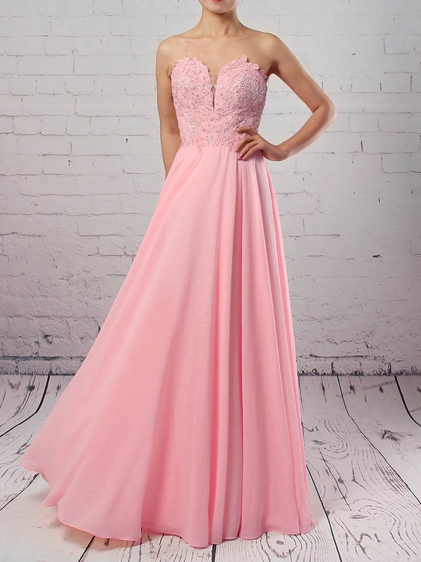 A-line Sweetheart Chiffon Tulle Floor-length Appliques Lace Prom Dresses #Favs020105072