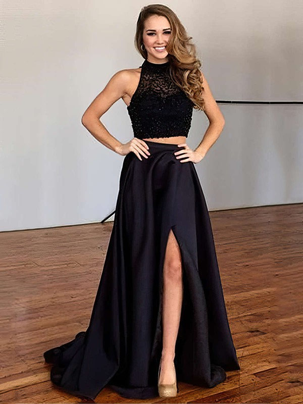 A-line High Neck Satin Sweep Train Beading Prom Dresses #Favs020102482