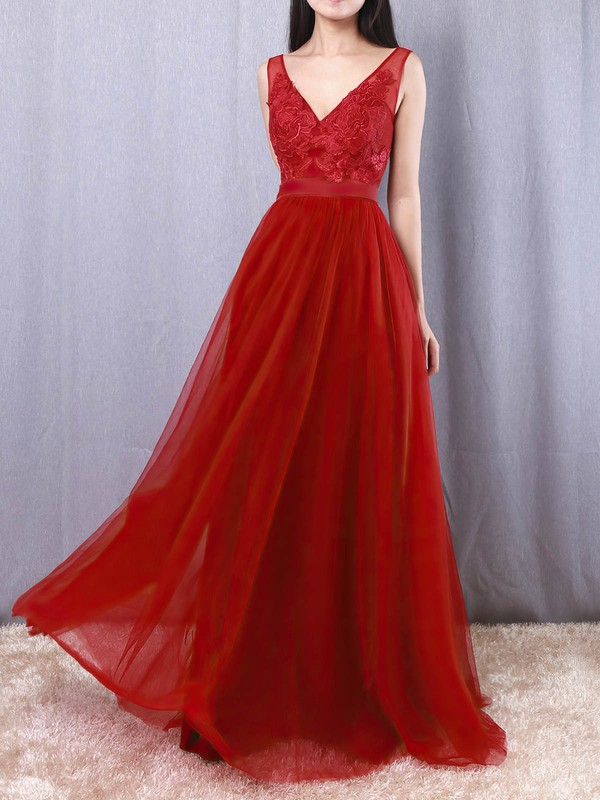 A-line V-neck Tulle Floor-length Appliques Lace Prom Dresses #Favs020105082