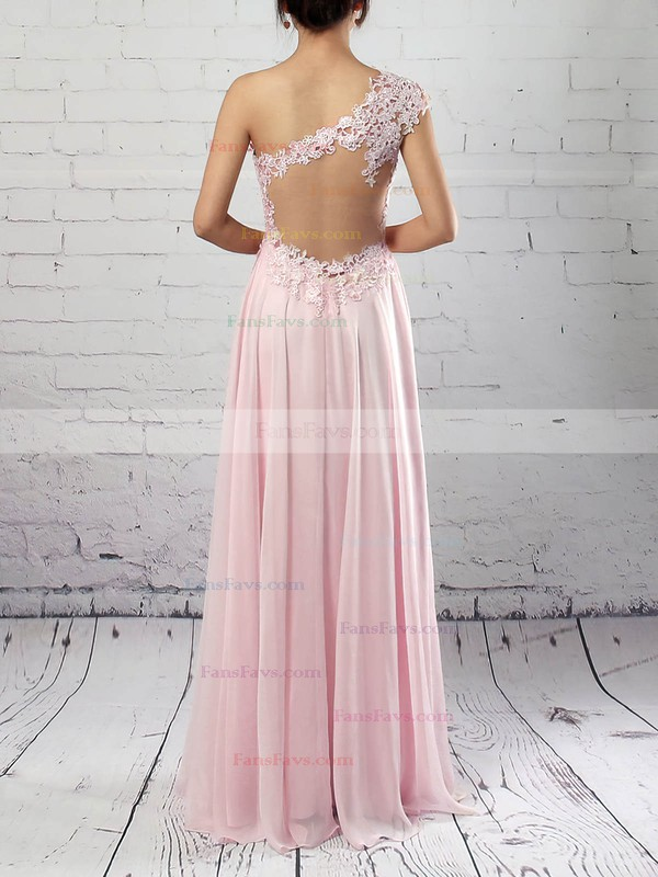 A-line One Shoulder Chiffon Floor-length Appliques Lace Prom Dresses #Favs020105091