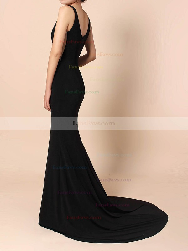 Sheath/Column V-neck Jersey Sweep Train Prom Dresses #Favs020105112