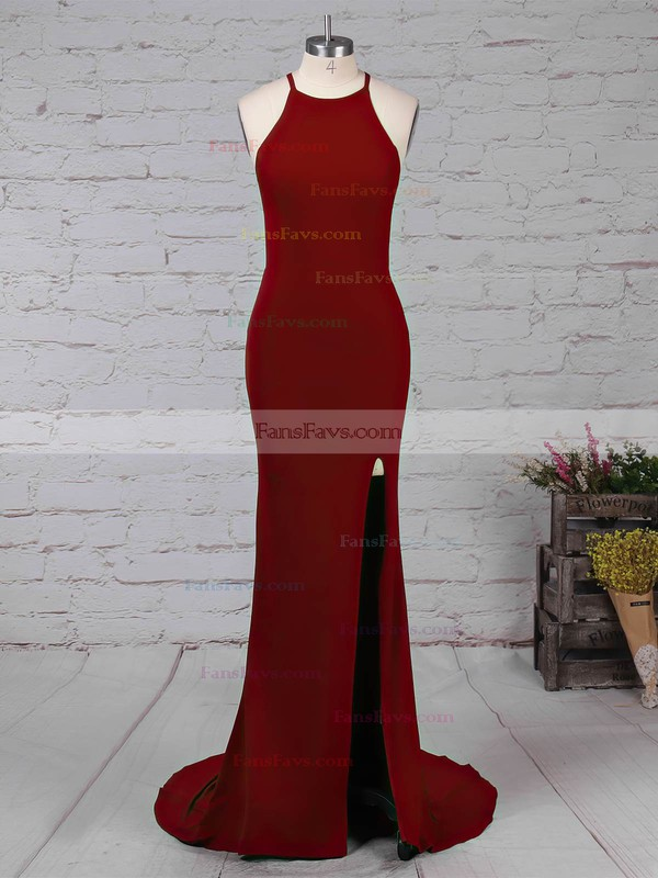 Trumpet/Mermaid Scoop Neck Jersey Sweep Train Split Front Prom Dresses #Favs020105838
