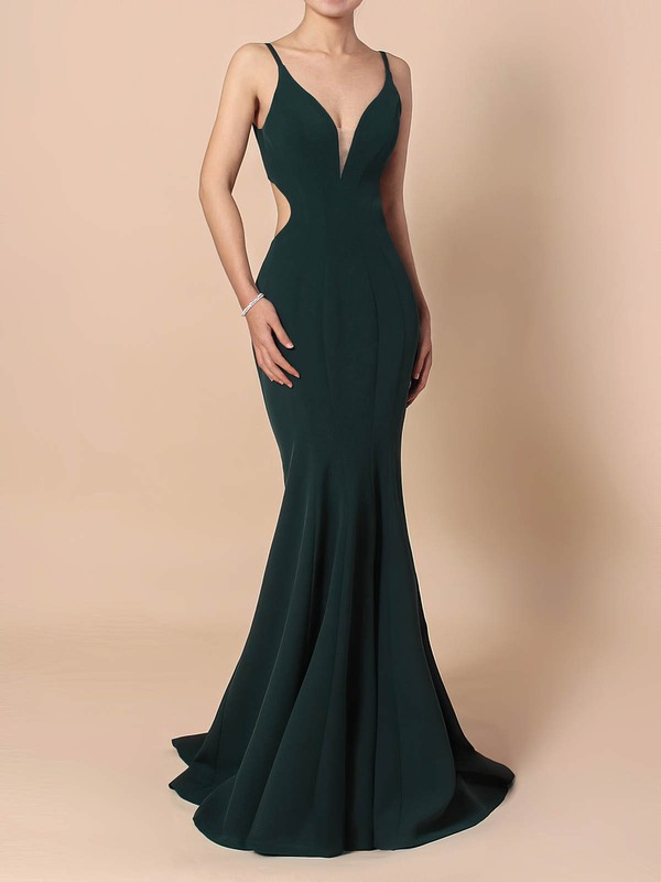Sheath/Column V-neck Silk-like Satin Sweep Train Prom Dresses #Favs020105843