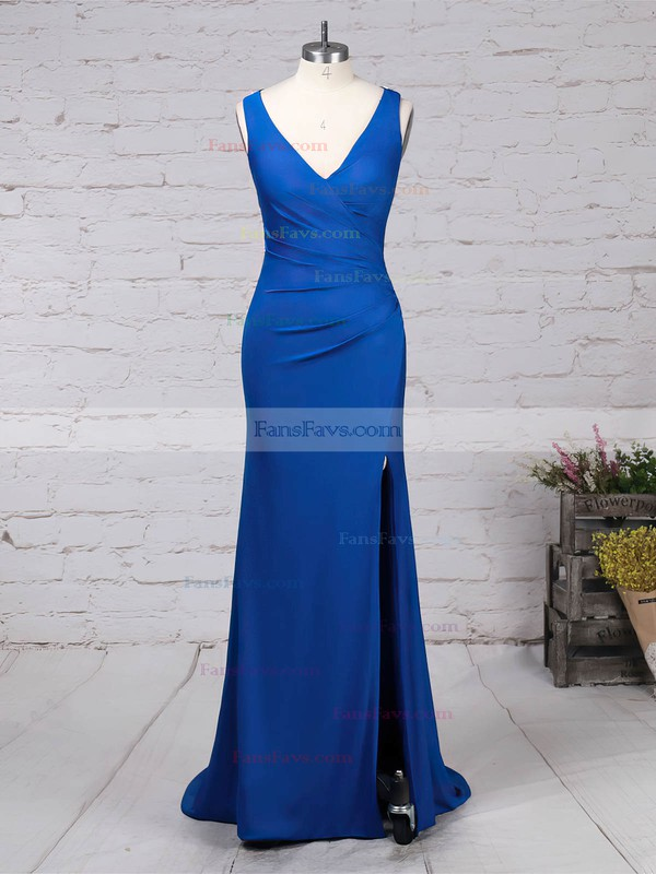 Sheath/Column V-neck Jersey Sweep Train Beading Prom Dresses #Favs020105844