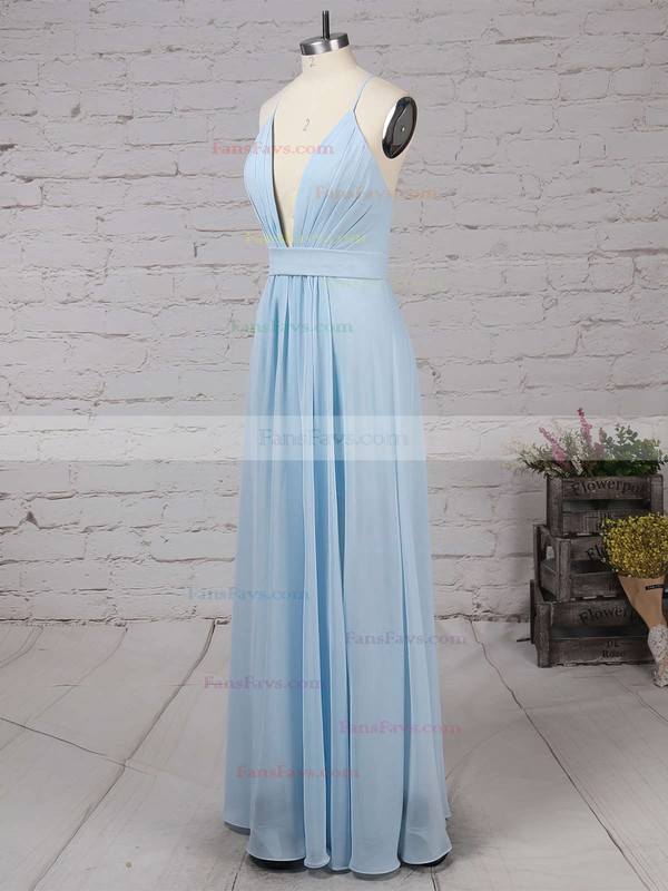 A-line V-neck Floor-length Chiffon Prom Dresses with Ruffle Split Front #Favs020102501
