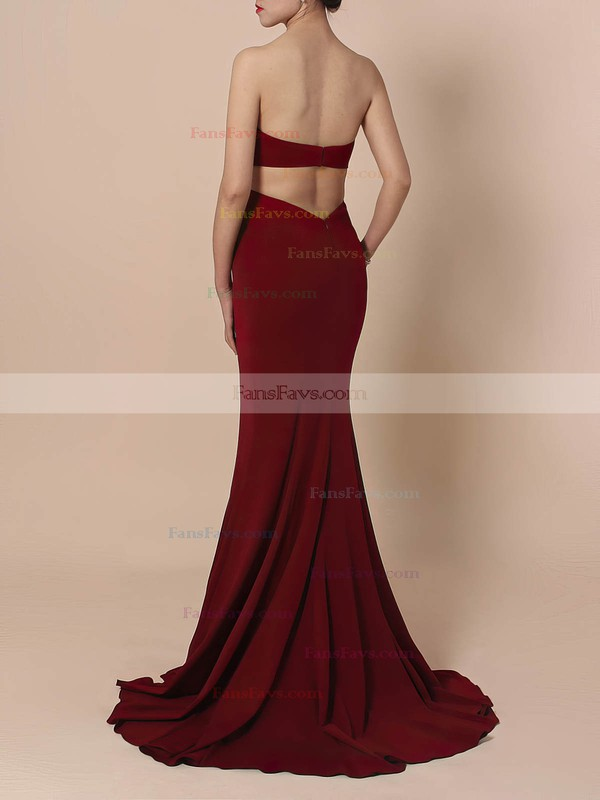 Sheath/Column Sweetheart Silk-like Satin Sweep Train Prom Dresses #Favs020105854