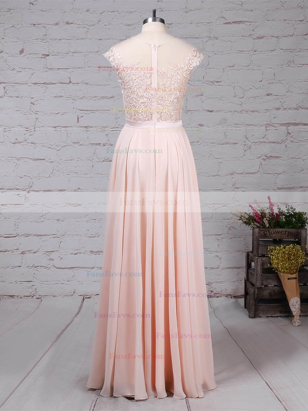 A-line Scoop Neck Chiffon Floor-length Appliques Lace Prom Dresses #Favs020105858
