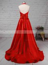 Princess Halter Satin Sweep Train Bow Prom Dresses #Favs020105868