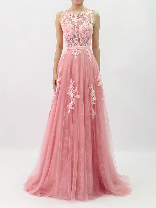 Princess Scoop Neck Lace Tulle Sweep Train Beading Prom Dresses #Favs020105890