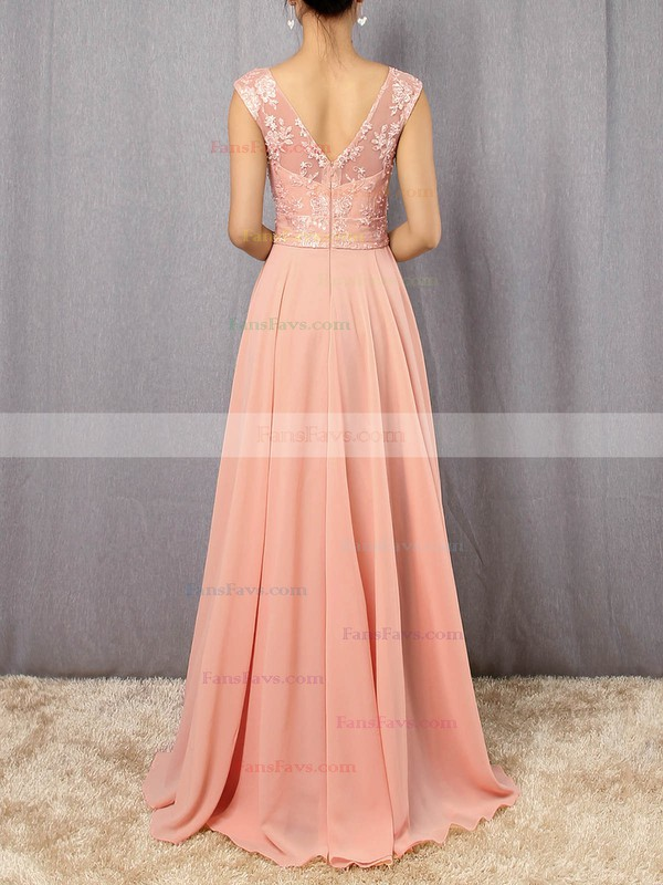 A-line V-neck Chiffon Tulle Floor-length Appliques Lace Prom Dresses #Favs020105892