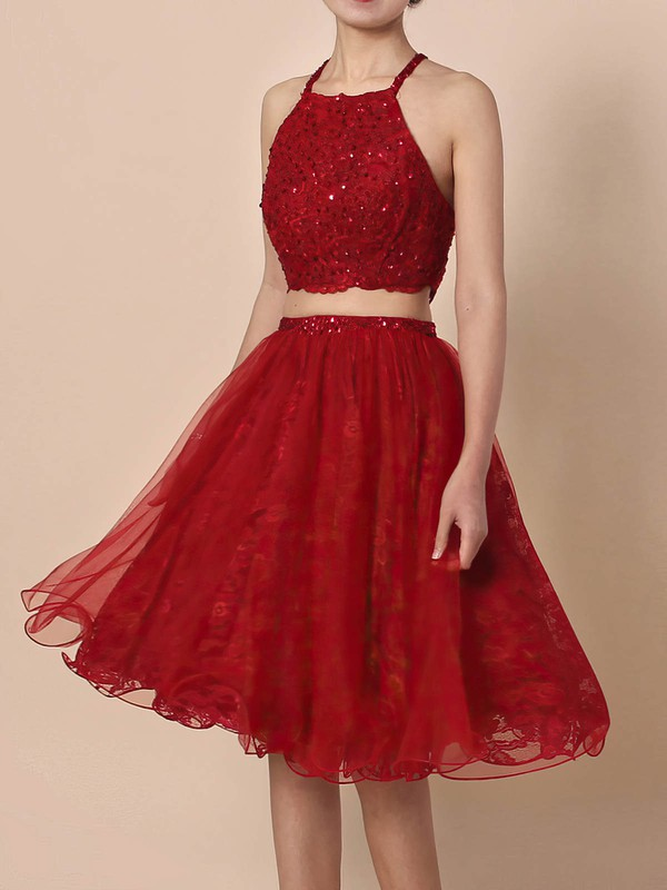 Princess Square Neckline Lace Tulle Short/Mini Beading Prom Dresses #Favs020105897