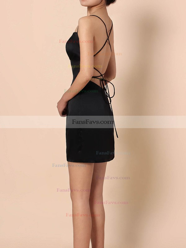 Sheath/Column Square Neckline Silk-like Satin Short/Mini Draped Prom Dresses #Favs020105905