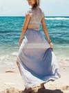 Sheath/Column Scoop Neck Silk-like Satin Lace Ankle-length Split Front Prom Dresses #Favs020102509