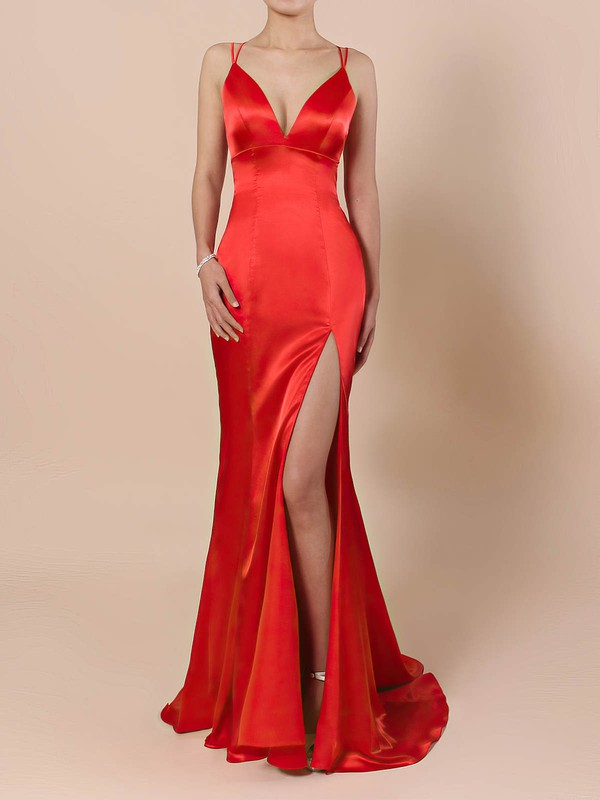 Trumpet/Mermaid V-neck Satin Sweep Train Split Front Prom Dresses #Favs020106413