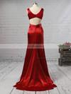 Sheath/Column V-neck Silk-like Satin Sweep Train Ruffles Prom Dresses #Favs020105829