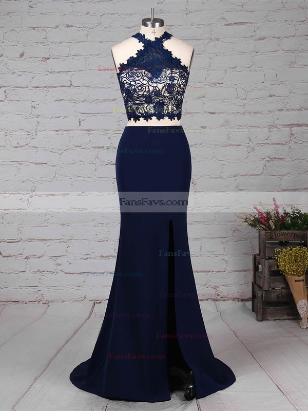 Sheath/Column High Neck Stretch Crepe Sweep Train Lace Prom Dresses #Favs020105921