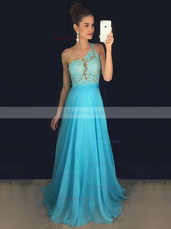 A-line One Shoulder Chiffon Sweep Train Appliques Lace Prom Dresses #Favs020102512