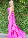 Trumpet/Mermaid Square Neckline Satin Sweep Train Cascading Ruffles Prom Dresses #Favs020106411