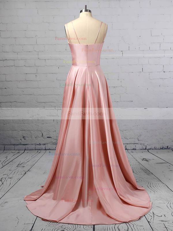 A-line Square Neckline Satin Sweep Train Pockets Prom Dresses #Favs020106414