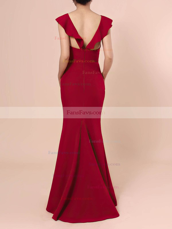Sheath/Column V-neck Stretch Crepe Floor-length Prom Dresses #Favs020106415