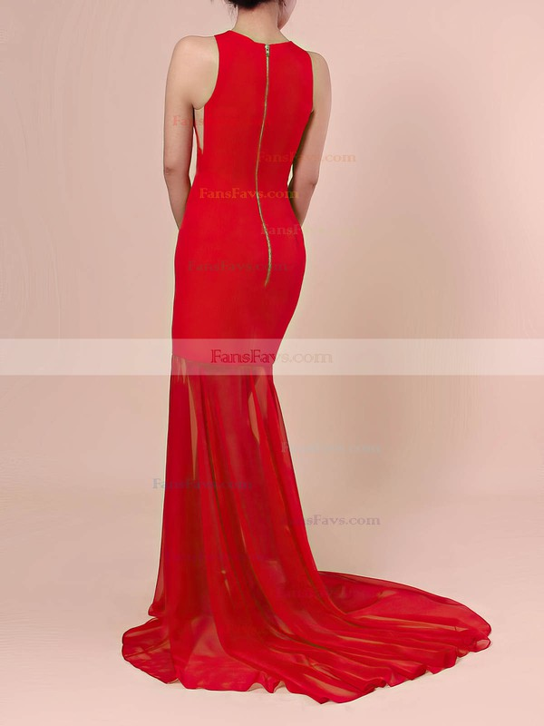 Trumpet/Mermaid Scoop Neck Chiffon Silk-like Satin Sweep Train Prom Dresses #Favs020106421