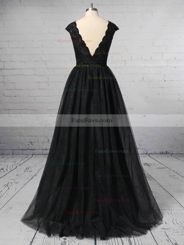 Princess Scoop Neck Tulle Sweep Train Lace Prom Dresses #Favs020106422