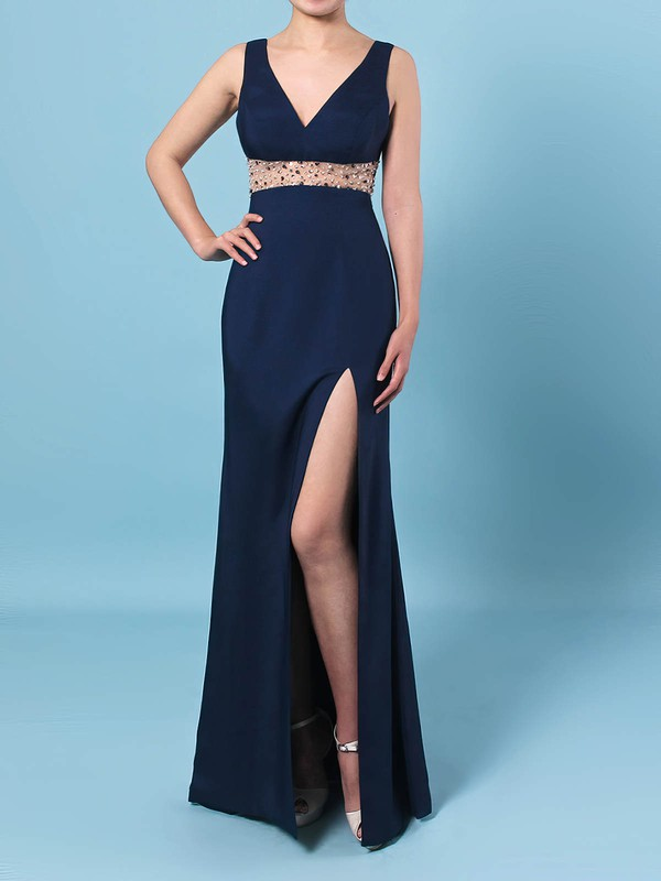 Sheath/Column V-neck Silk-like Satin Floor-length Beading Prom Dresses #Favs020106423