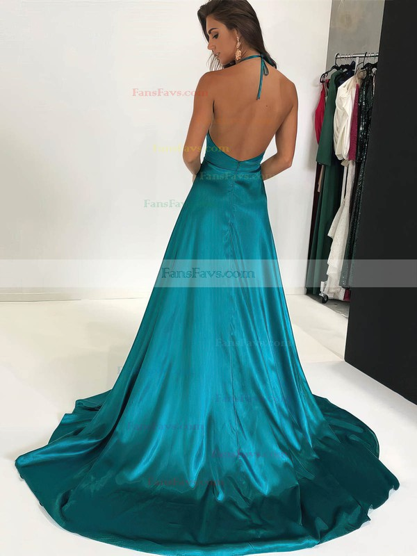 A-line Halter Silk-like Satin Sweep Train Split Front Prom Dresses #Favs020106435
