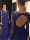 Trumpet/Mermaid Scoop Neck Sweep Train Chiffon Prom Dresses with Appliques Lace Sequins #Favs020102514